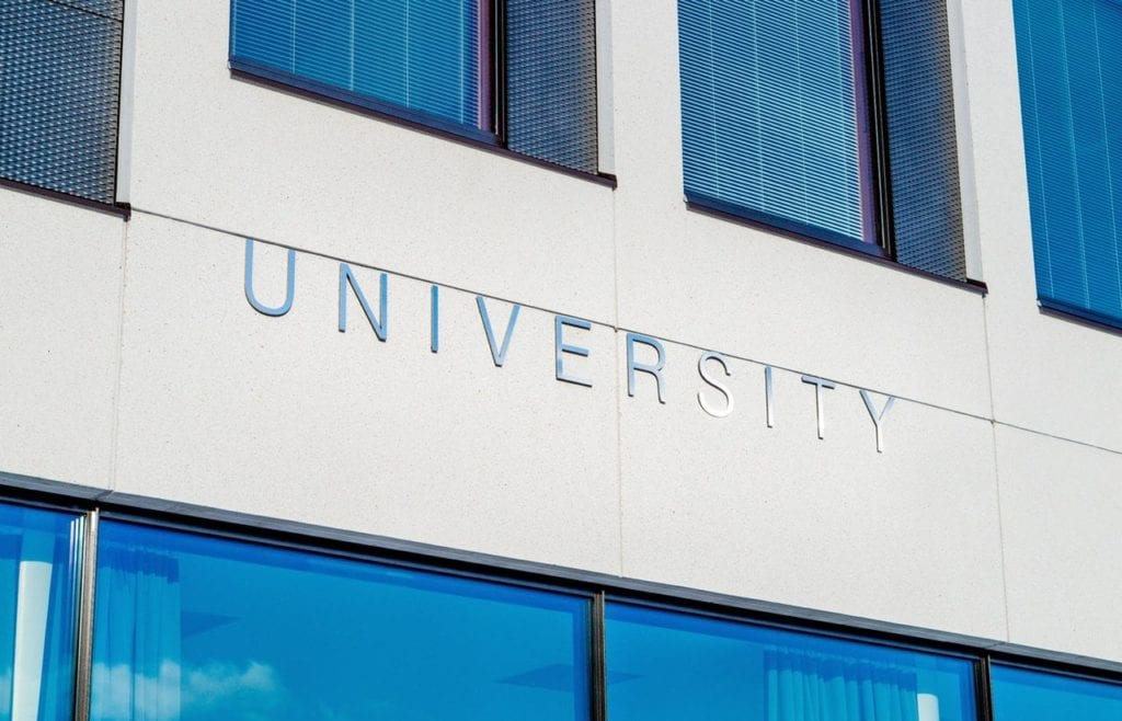 Building with university sign