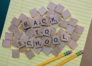 Back to school spelt out with scrabble pieces