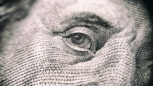 Zoomed in image of a dollar bill