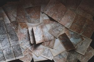 A pile of maps