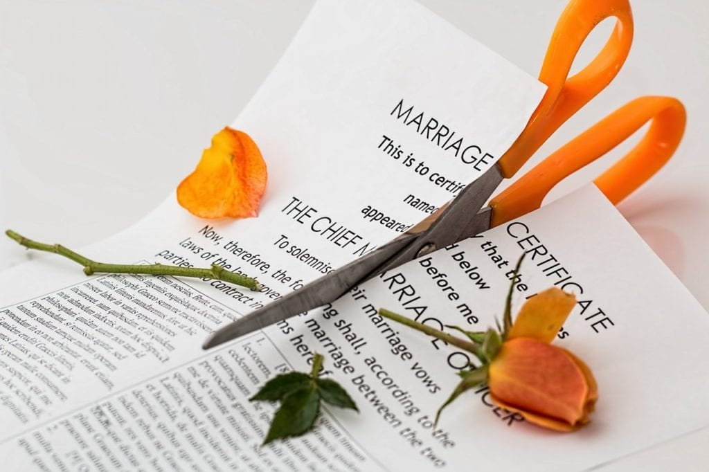 Divorce Certificate being cut in half